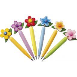balpen in hout met bloem per 10 stuks